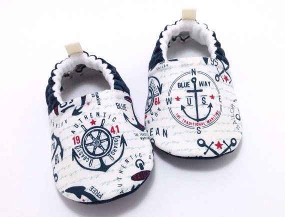 Anchors Baby Shoes Soft Sole Baby Shoes Baby by CharleeOhCreations
