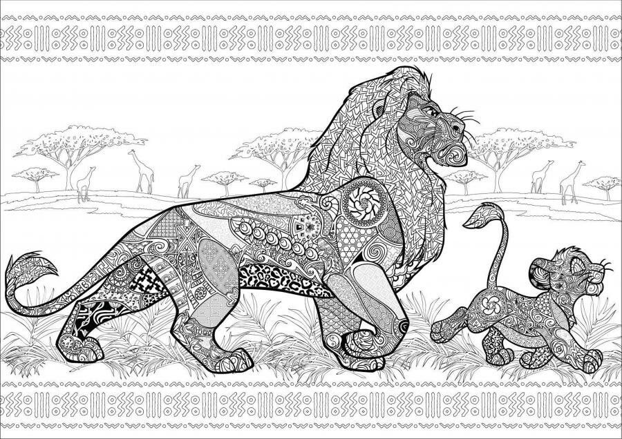 color therapy coloring pages lion king | Mufasa and simba | the lion king | Pinterest