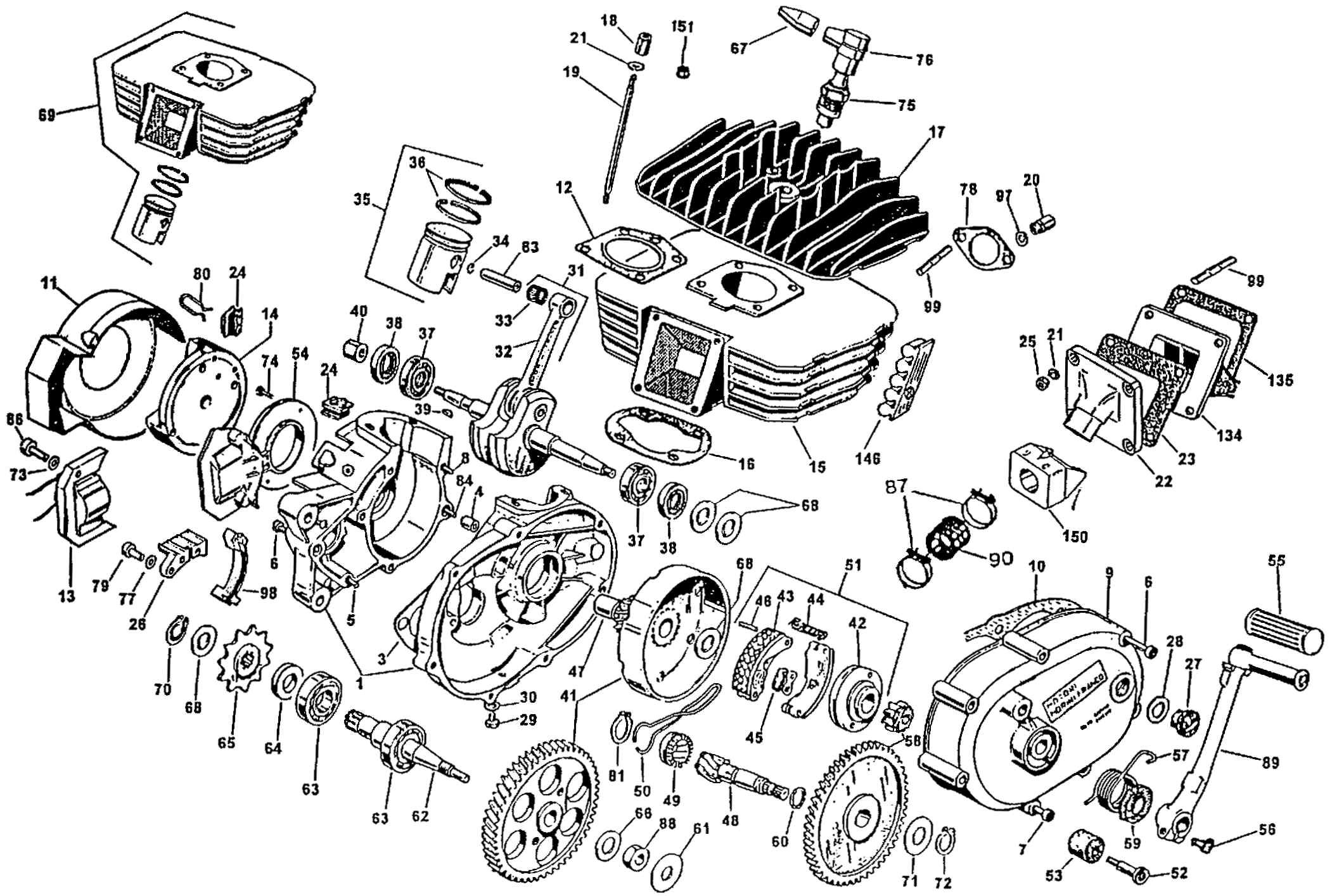 Motorcycle Engine Exploded View With Images Motorcycle Engine