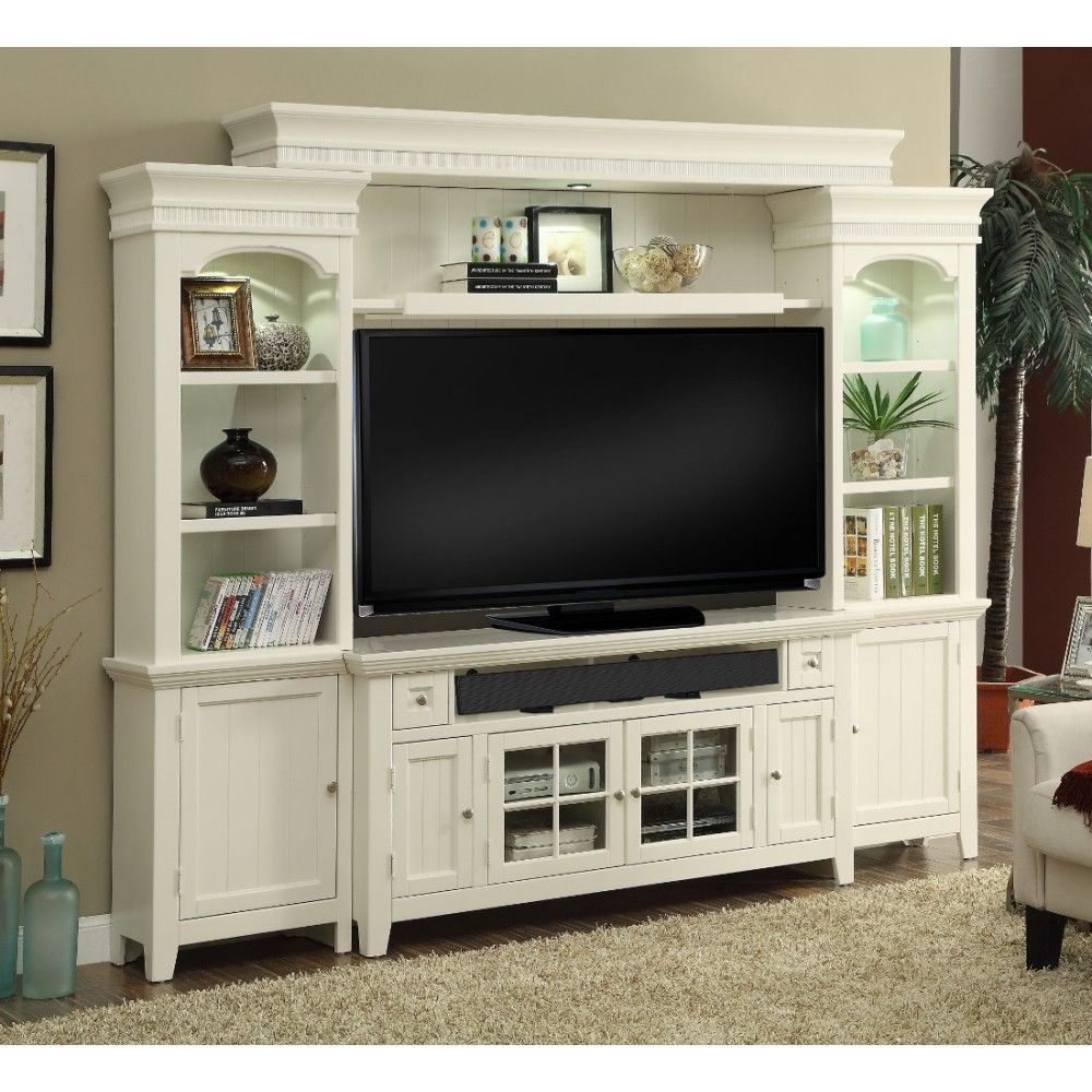Parker House Tidewater 62 Console Entertainment Wall In Vintage White