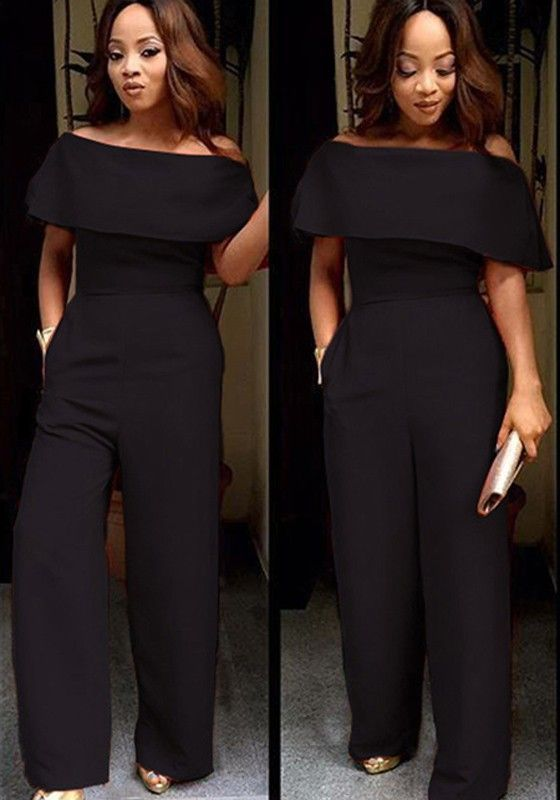 05fd72fe9443 Black Plain Ruffle Boat Neck Off-shoulder High Waisted Wide Leg Long  Jumpsuit