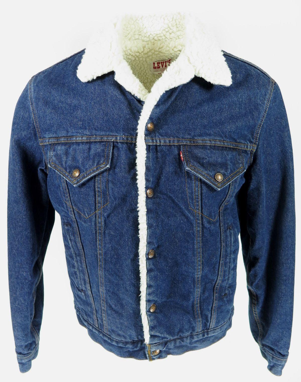 Vtg 70s Levis Sherpa Trucker Jacket 40 L Indigo Blue Vintage Mens