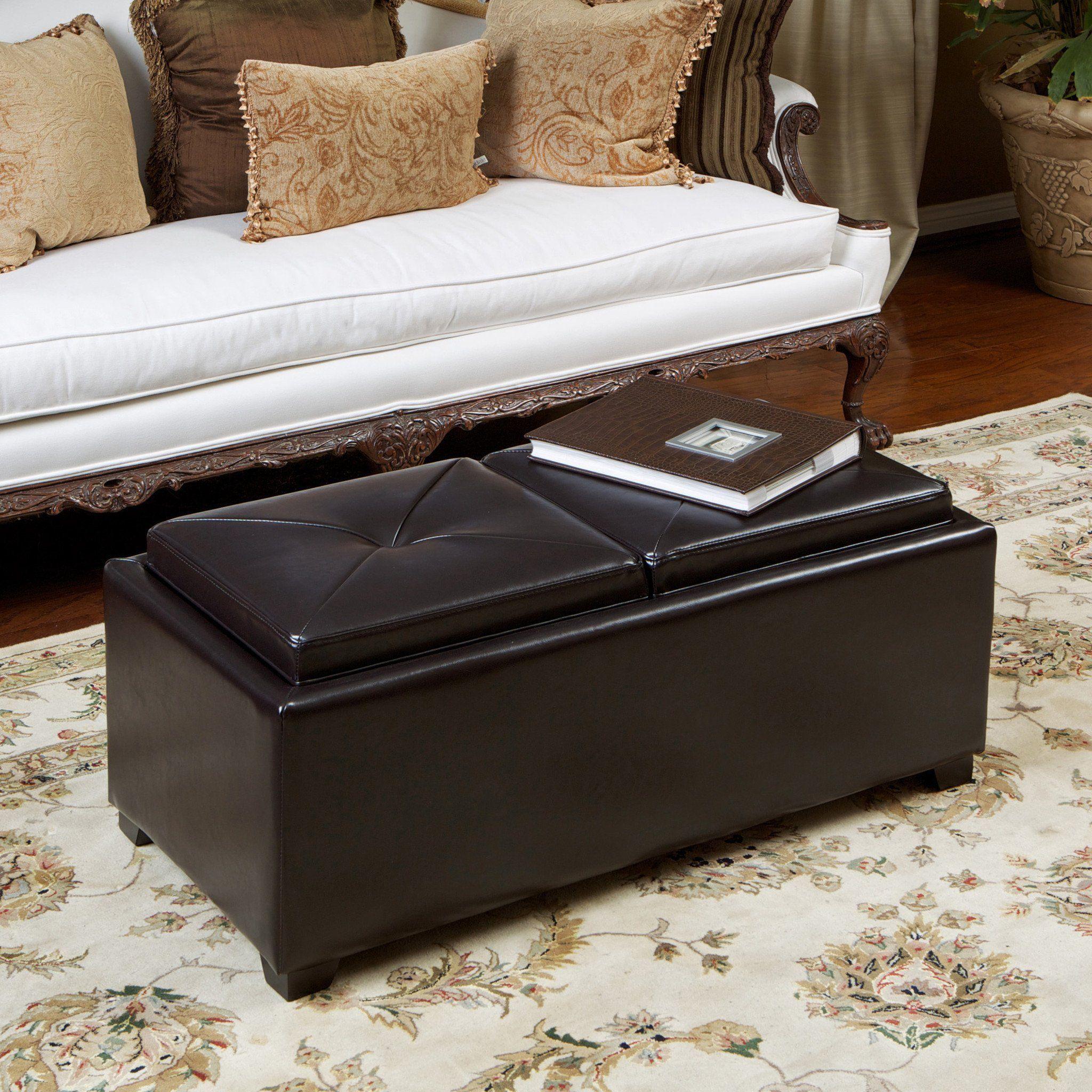 Contemporary rectangular storage ottoman leather 2tray