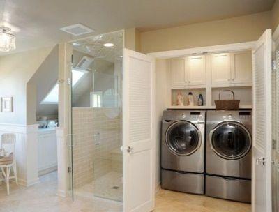 Gran armario para la lavadora y secadora en el ba o bathroom lavadora y secadora cuarto de - Armario para lavadora ...