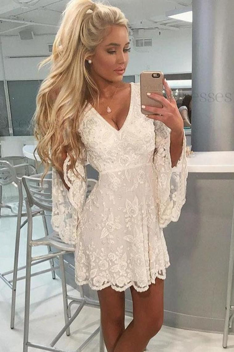 ALine VNeck Open Back Bell Sleeves Short White Lace Homecoming - Lace homecoming dresses, Long sleeve homecoming dresses, Sexy lace dress, White homecoming dresses, Homecoming dresses, Homecoming dresses short - ALine VNeck Open Back Bell Sleeves Short White Lace Homecoming, SSA, This dress could be custom made, there are no extra cost to do custom size and color