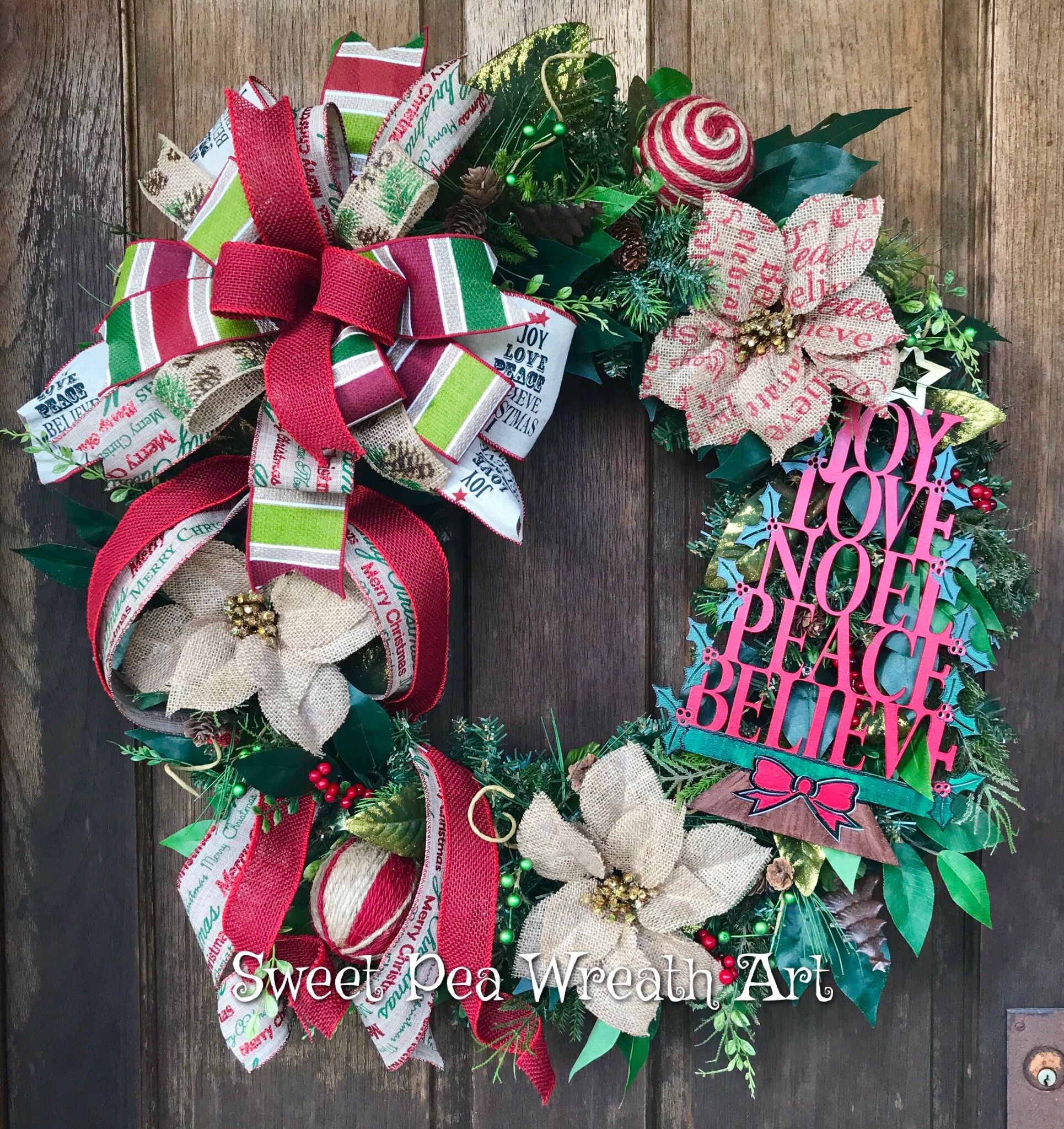 Christmas Evergreen Wreath In Traditional Colors And Rustic Accents