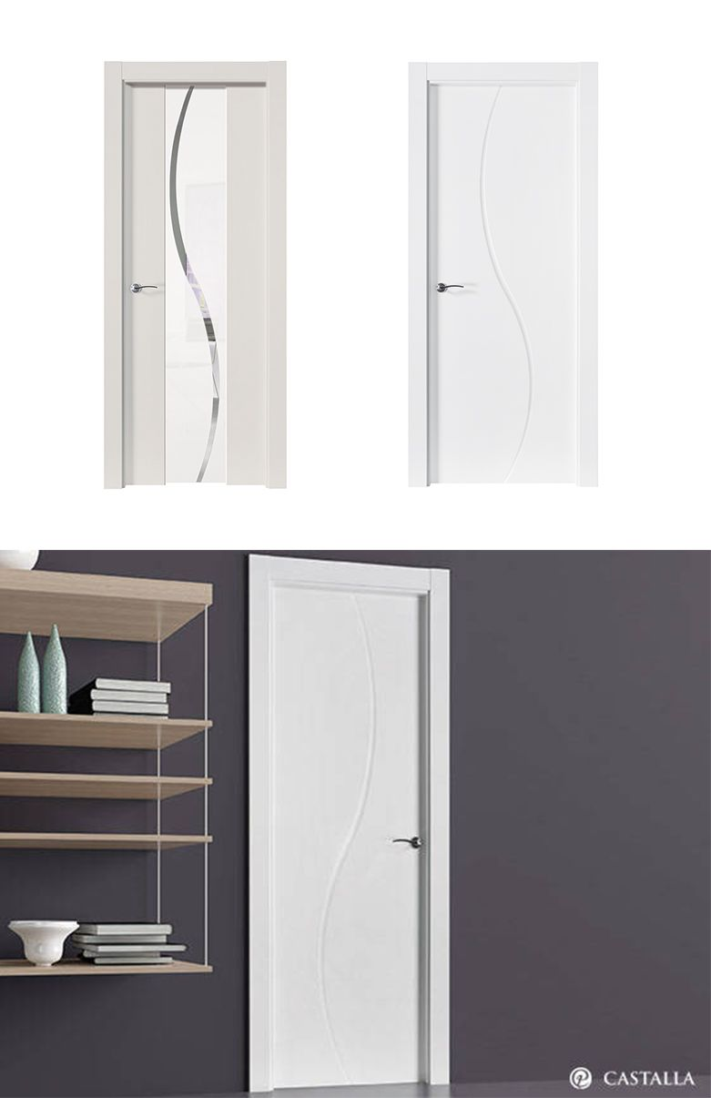 Puerta de interior blanca modelo dumont de la serie for Puertas castalla