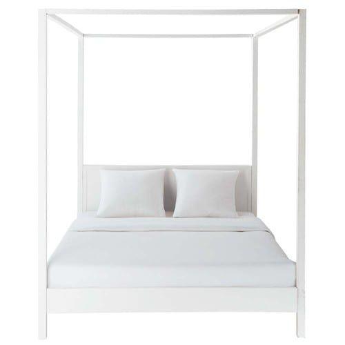 Lit A Baldaquin 160x200 En Pin Blanc Casse Four Poster Bed