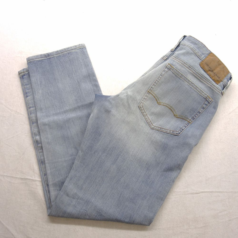 American Eagle Outfitters ORIGINAL STRAIGHT JEAN DESTROYED LIGHT WASH SZ  choose