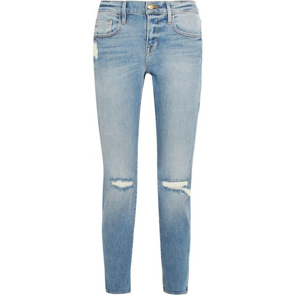 6155c9015e3b7 FRAME Le Boy cropped distressed mid-rise slim-leg jeans (1.050 BRL ...