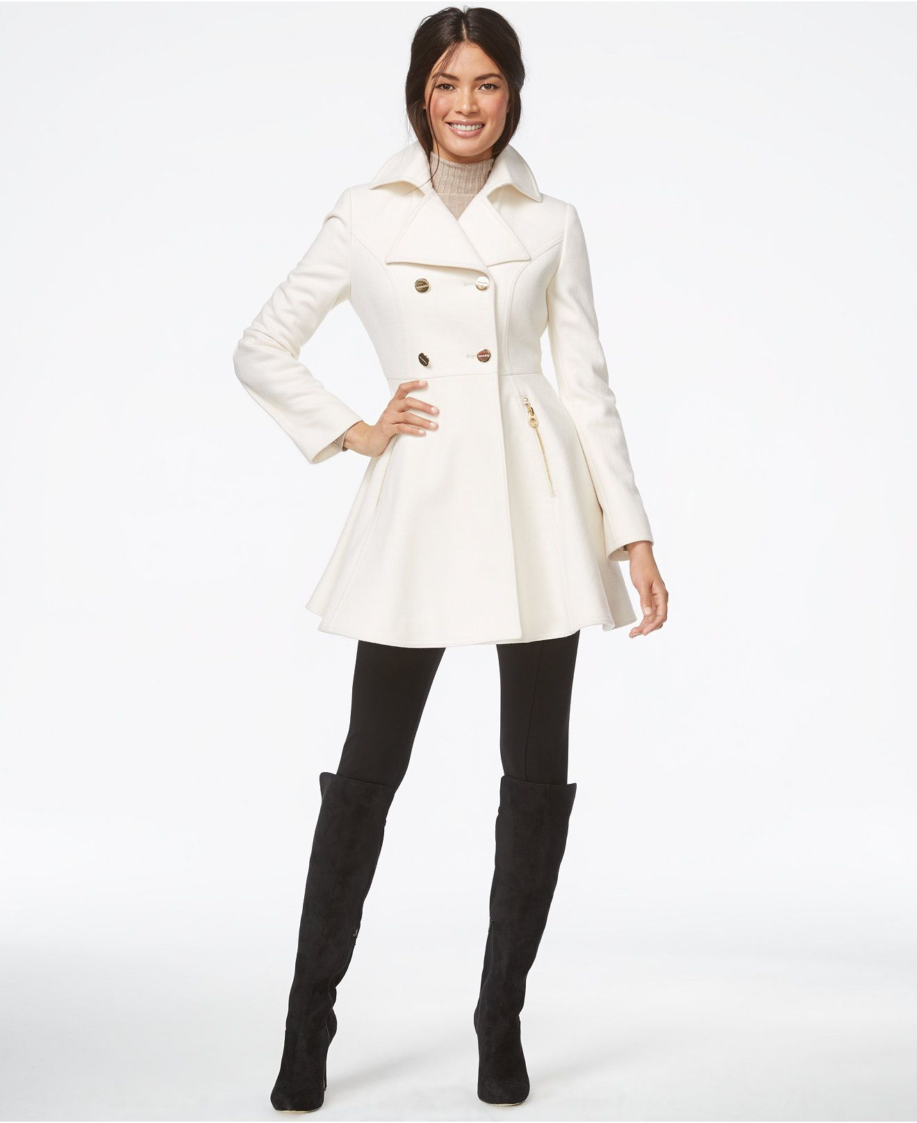 Laundry by Shelli Segal Double-Breasted Flared Peacoat - Coats ...