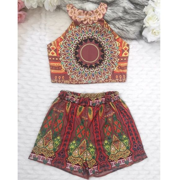 Boho Two Piece Set, new New with tags. Crop top and high waisted shorts. Shorts have elastic waist. Material: polyester. Stretchy. Not see through. I have other sizes. Lanier Boutique Shorts