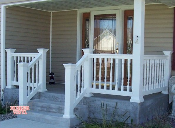 White Vinyl Porch Railing Link To Enlarged View Of Colonial Sentinel Railing Porch Remodel Porch Railing Designs House With Porch