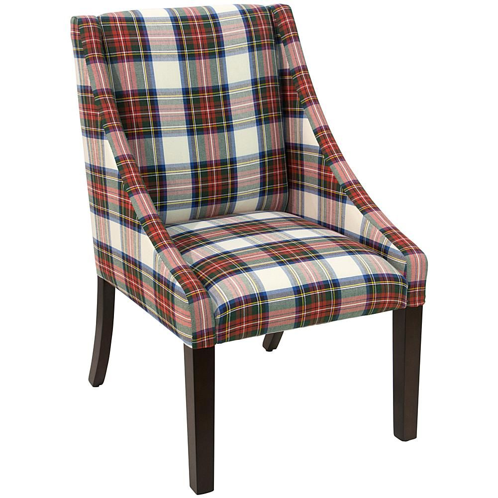Home Marketplace Swoop Dining Chair - Multi-Colored Plaid ...