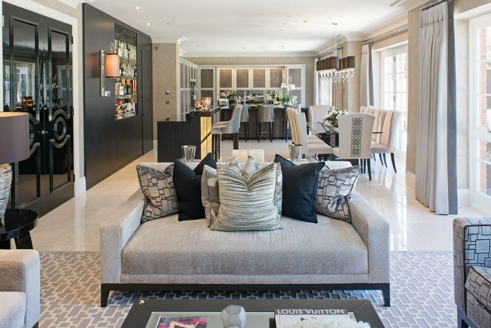 The open plan living areas make for a fantastic party for Interior design surrey