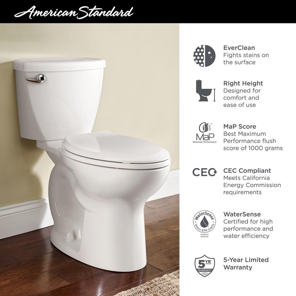 American Standard Cadet 3 Flowise Tall Height 2 Piece 1 28 Gpf Single Flush Elongated Toilet In White With Slow Close Seat 3378 128st 020 The Home Depot In 2020 Modern Toilet American Standard Toilet
