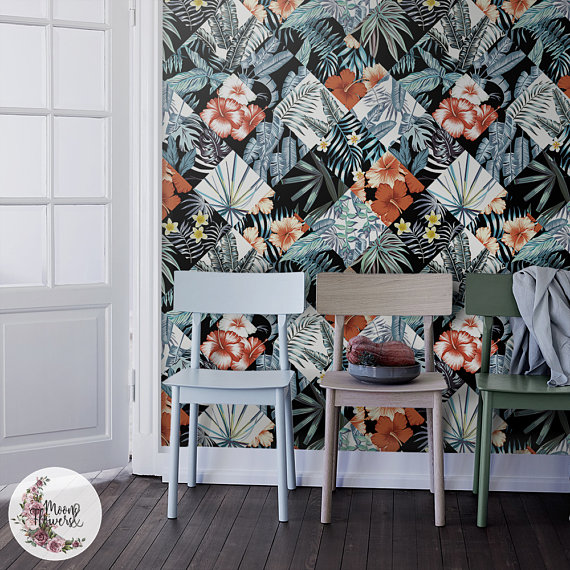 Tropical Patchwork Removable Wallpaper Flowers Wall Mural Etsy Removable Wallpaper Watercolor Walls Wall Murals