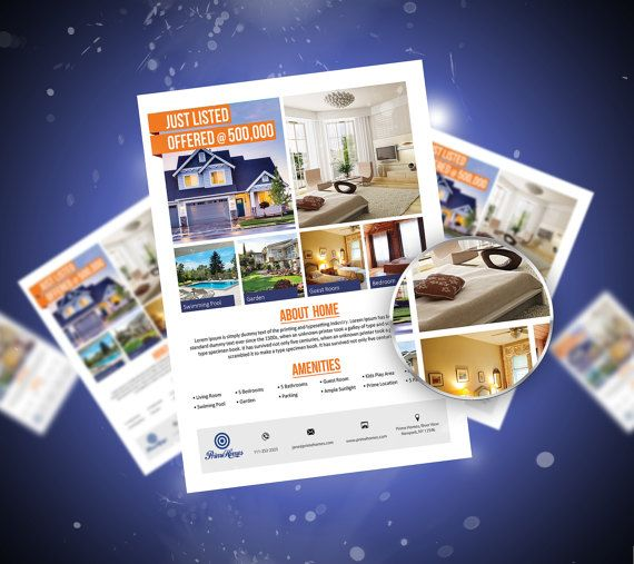 Real Estate advertising Flyer Template Microsoft Word by Koreev - flyer templates for microsoft word