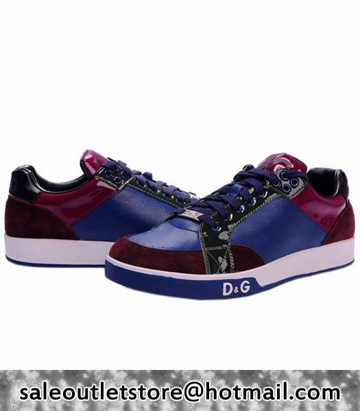 DolceGabbana Sneaker Real LeatherSuede Leather BlueFuchsia Shoes MenMens
