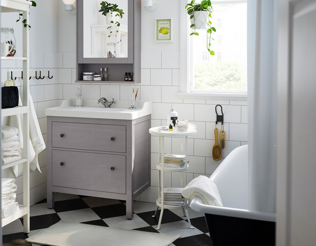 A Grey Drawer Sink Cabinet And Matching Grey Mirror Cabinet With - Plush towels for small bathroom ideas