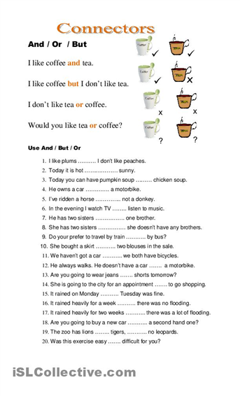 connectors worksheet free esl printable worksheets made by teachers projects to try. Black Bedroom Furniture Sets. Home Design Ideas