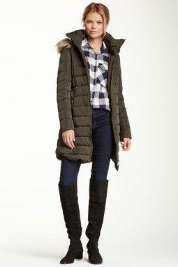 0e568afa08e Long Shirttail Hem Puffer Coat | Beauty | Fashion, Cute jackets ...
