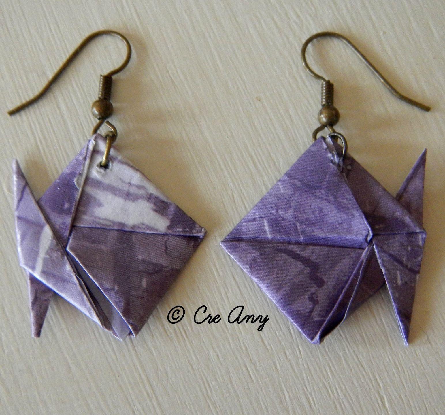 Boucle d'oreille fantaisie origami
