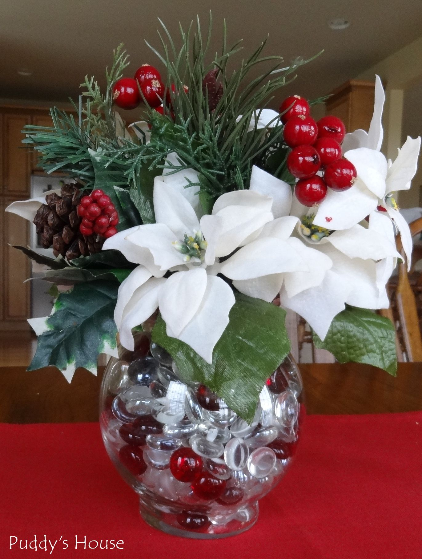 #7F2224 DIY Christmas Decorations Poinsettia Centerpiece  5271 decoration table noel mauve 1371x1815 px @ aertt.com