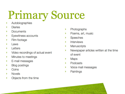 Primary and secondary resources