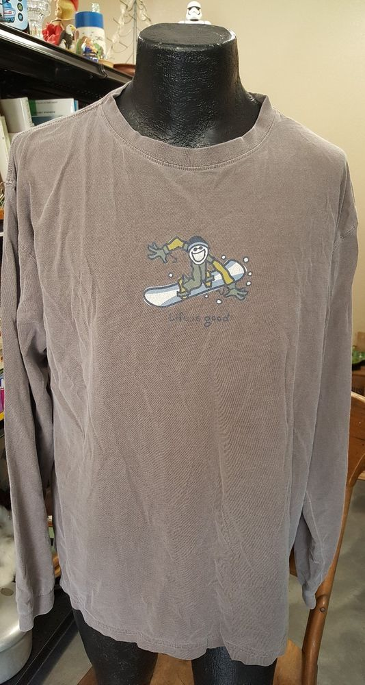 812029bd LIFE IS GOOD Mens Size XL Brown Go Places Shirt SNOWBOARD Winter Long  Sleeve Tee #LifeIsGood #Pullover