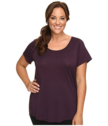 Lucy Womens Extended Short Sleeve Workout Tee BlackberryLucy Black Heather TShirt 2X * You can get more details by clicking on the image.