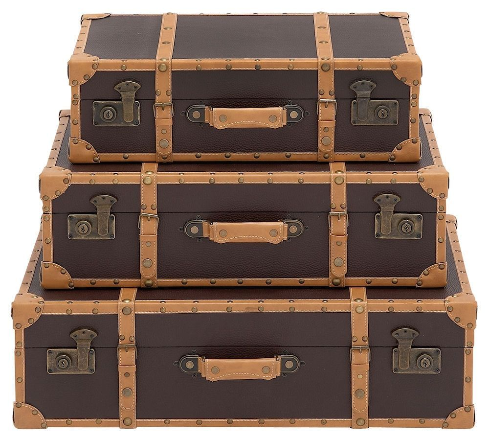 Gray and Brown Faux Leather Wood Suitcase Storage Trunk Set of 3