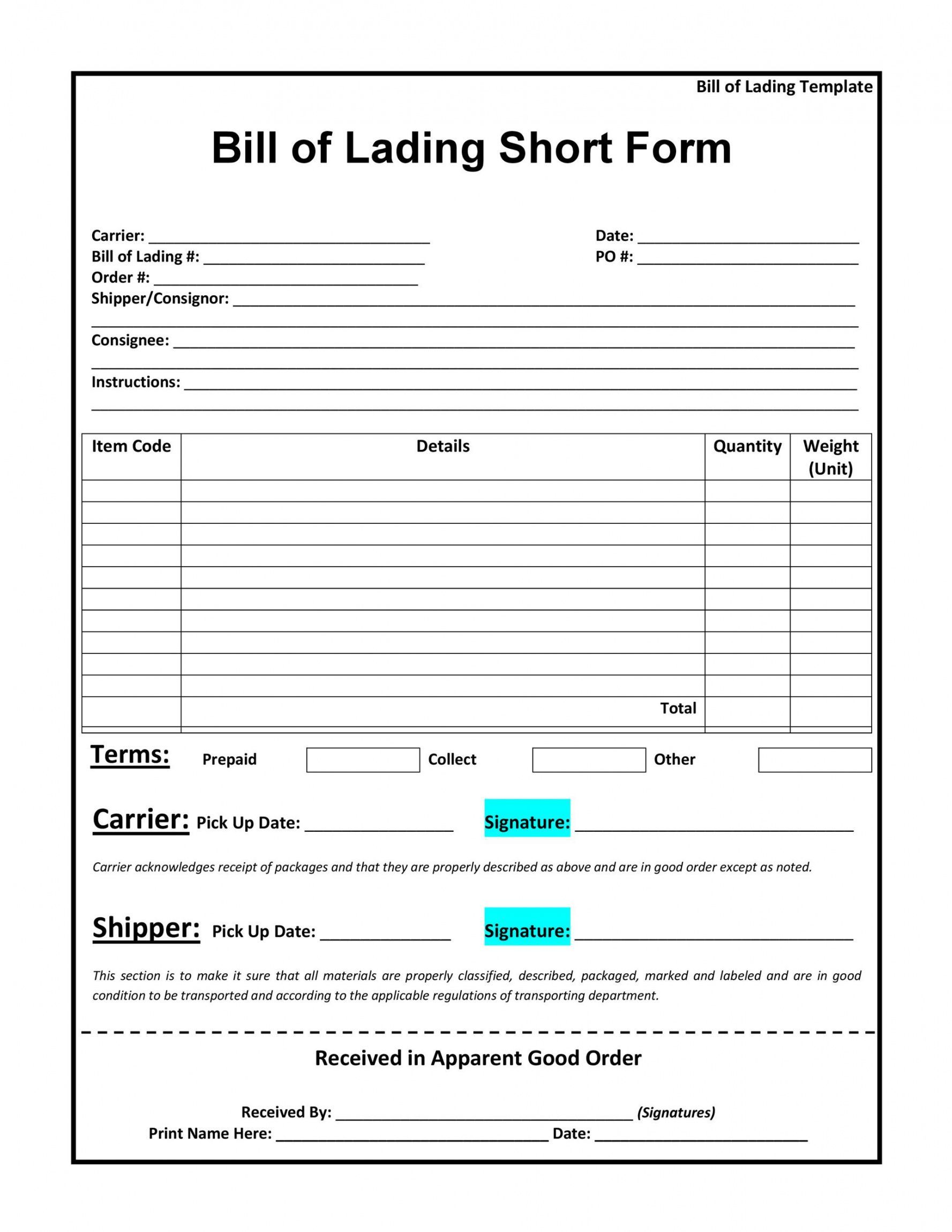 Explore Our Image Of Truck Bill Of Lading Template For Free Bill Of Lading Business Template Bill Template