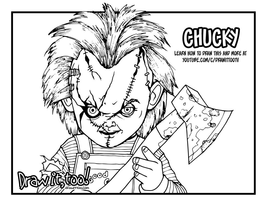 Coloring Pages Coloring Pages Chucky Doll Drawing At Doll Drawing Chucky Drawing Coloring Pages