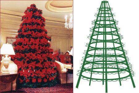 Pointsetta Christmas Tree.Poinsettia Tree Stand Holiday Decorating Ideas Poinsettia Tree