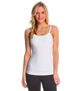 Hard Tail Scoop Back Yoga Tank Top with Bra - White - L