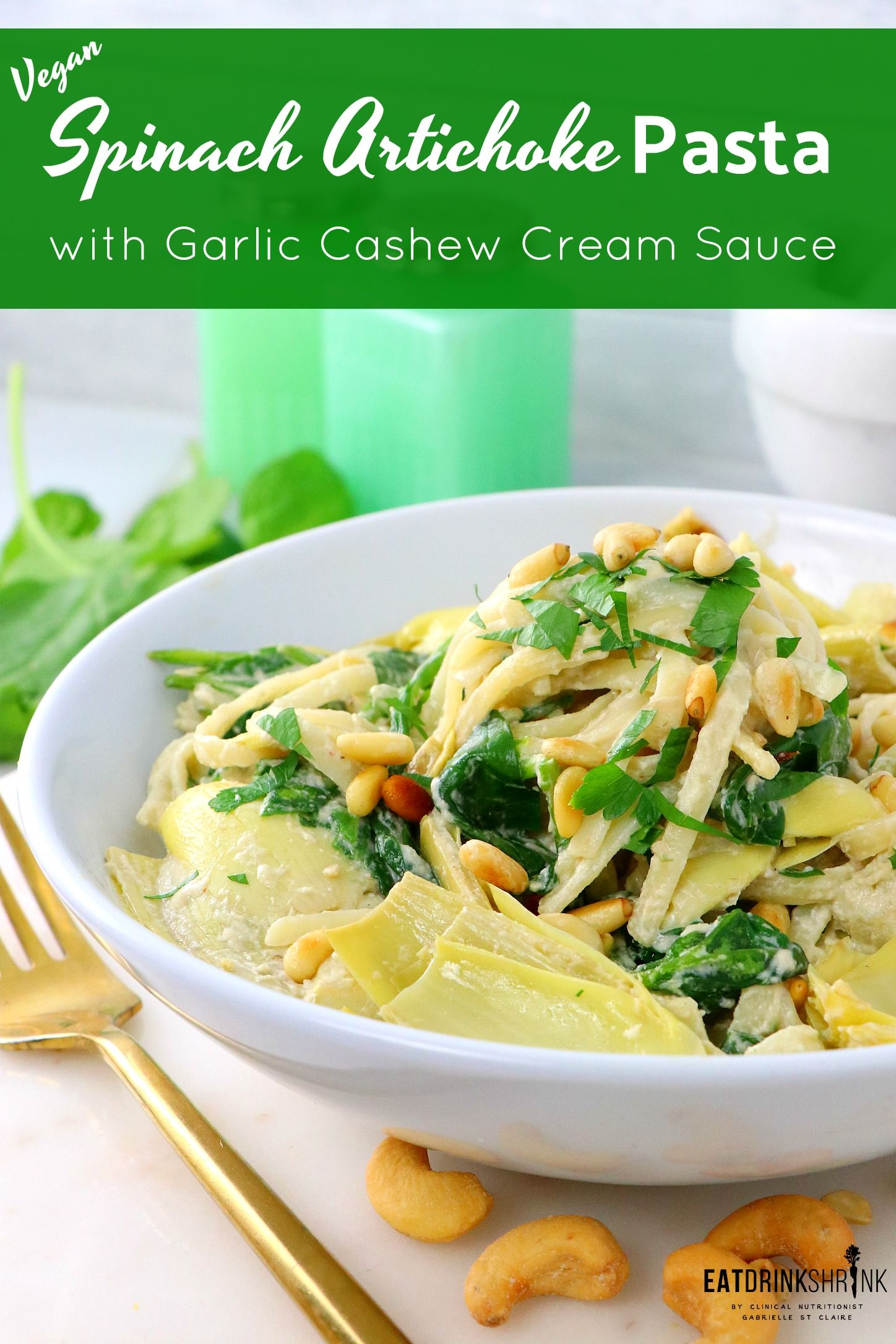Vegan Spinach Artichoke Pasta With Garlic Cream Sauce