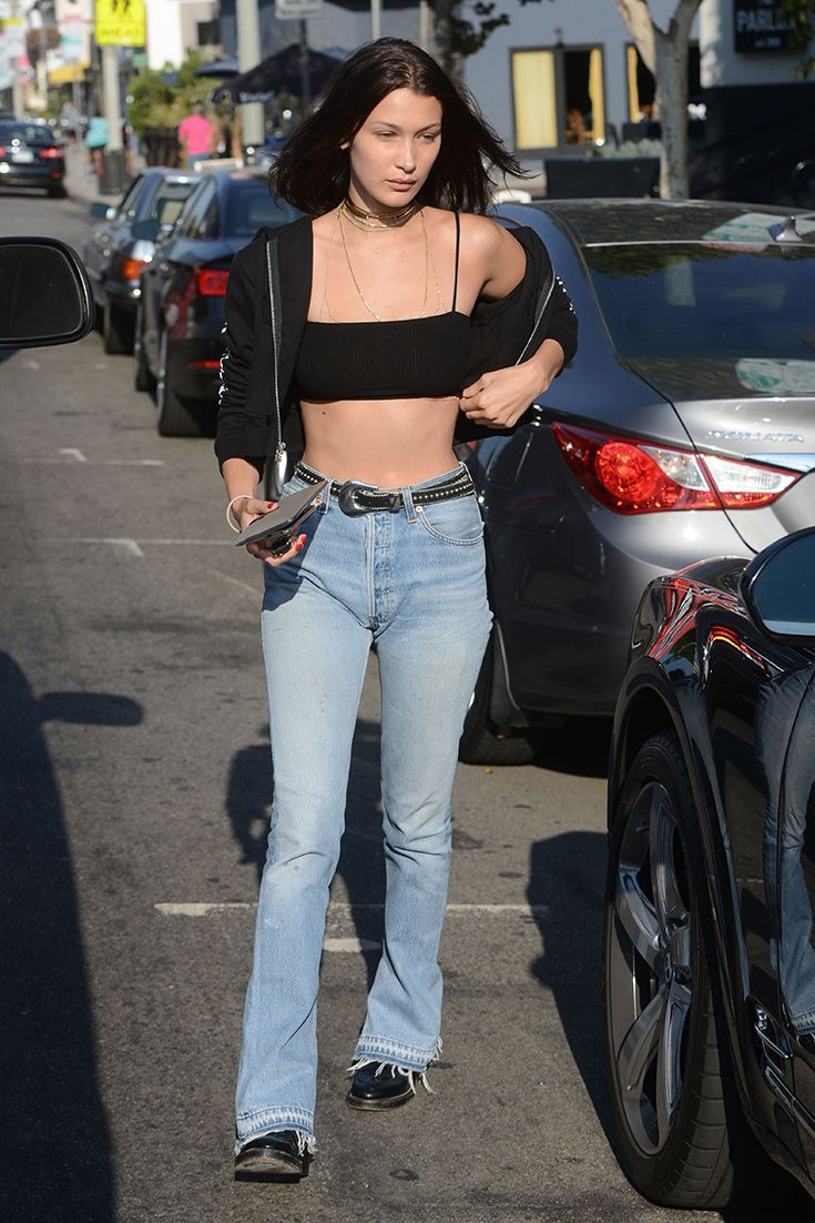 6dccf06bae9 Bella Hadid is the perfect tomboy in a black tube top with spaghetti  straps