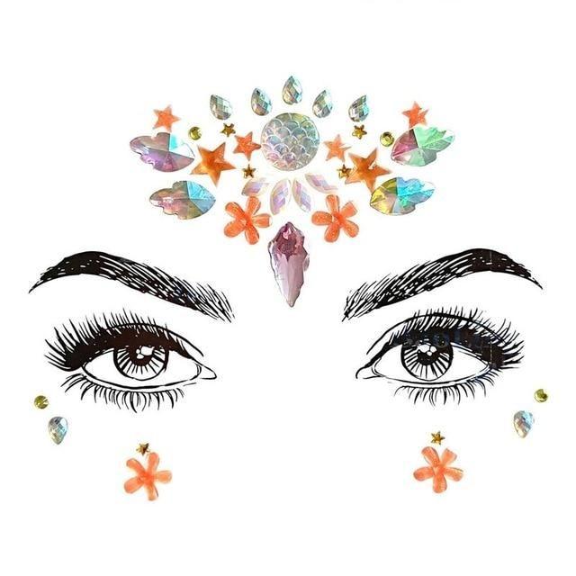 Strass Juwelen selbstklebende Kristall Augenbrauen Make Up Gesicht Aufkleber – 23 / Multi