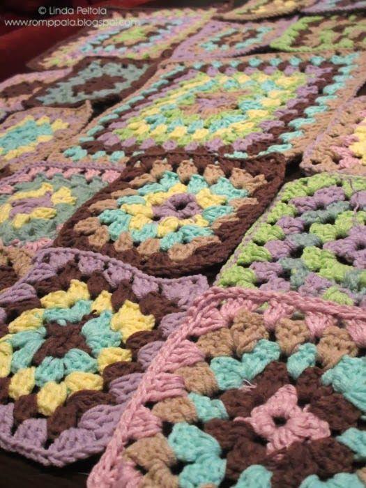 Granny square blanket in progress... by romppala.blogspot.com