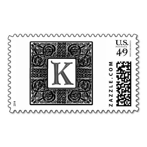 silver celtic k monogram postage stamp make your own business
