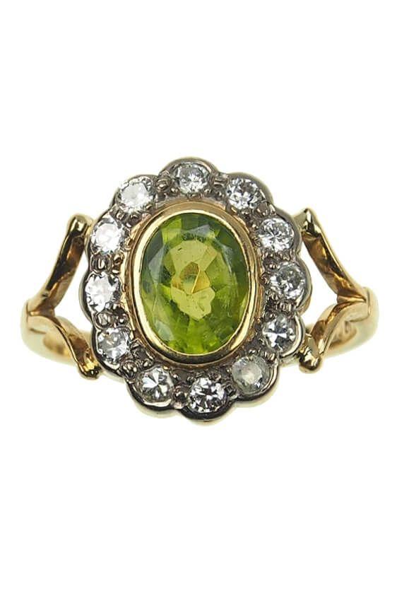 18 Ct Gold Vintage Ring Verlobungsring Mit Peridot Diamanten