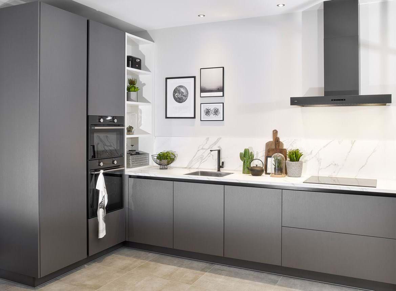 In de spotlights: moderne antraciete keuken