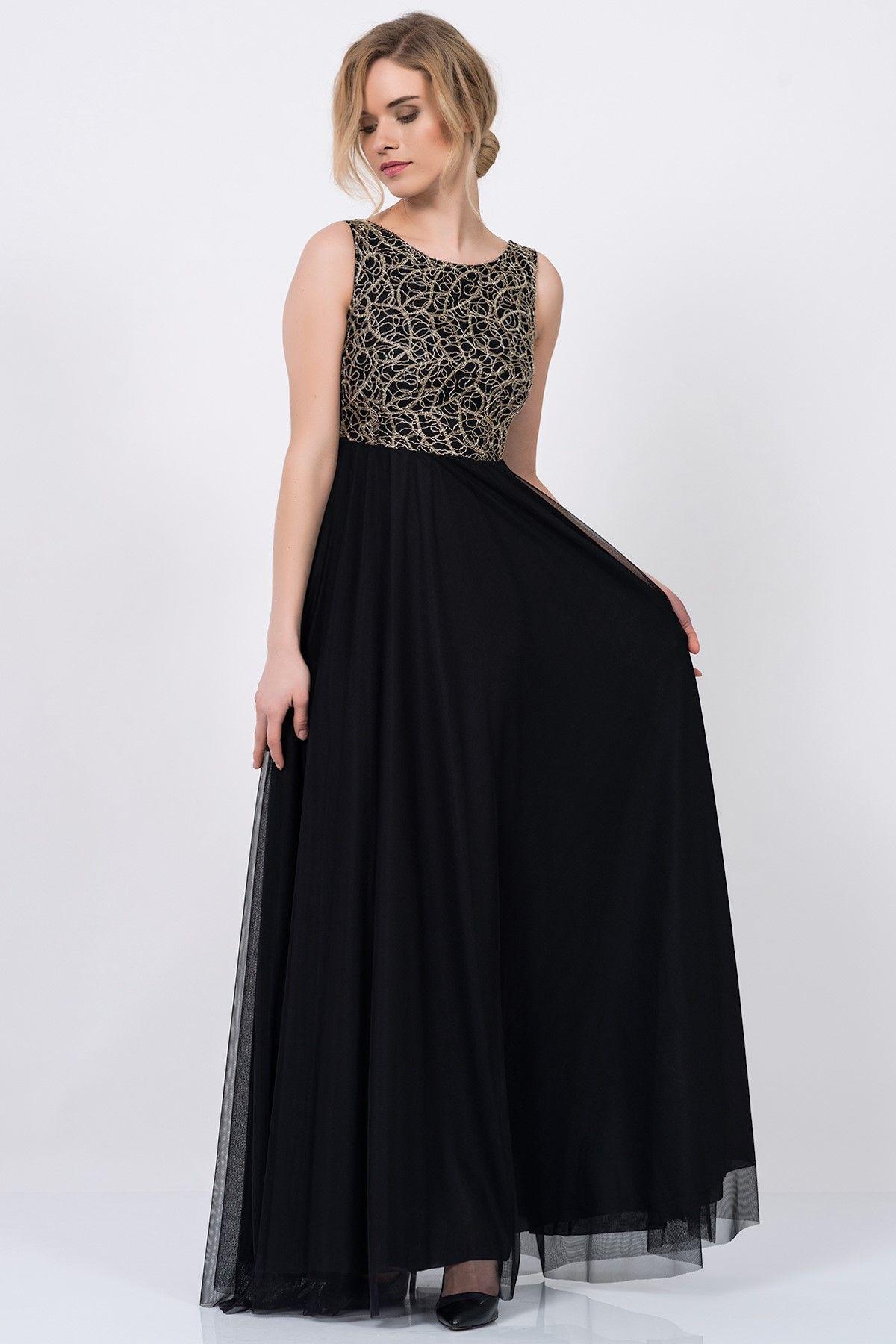 Siyah Altin Rengi Parlak Islemeli Uzun Abiye Elbise 5021 1085 Elbise Moda Stilleri Balo Elbiseleri