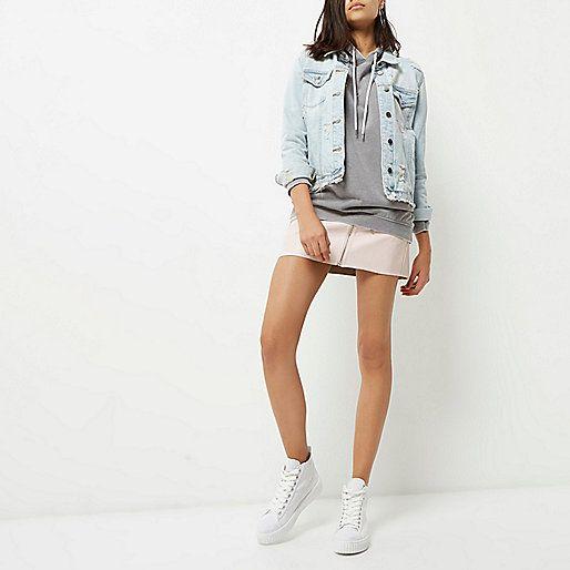 Pink leather look zip mini skirt