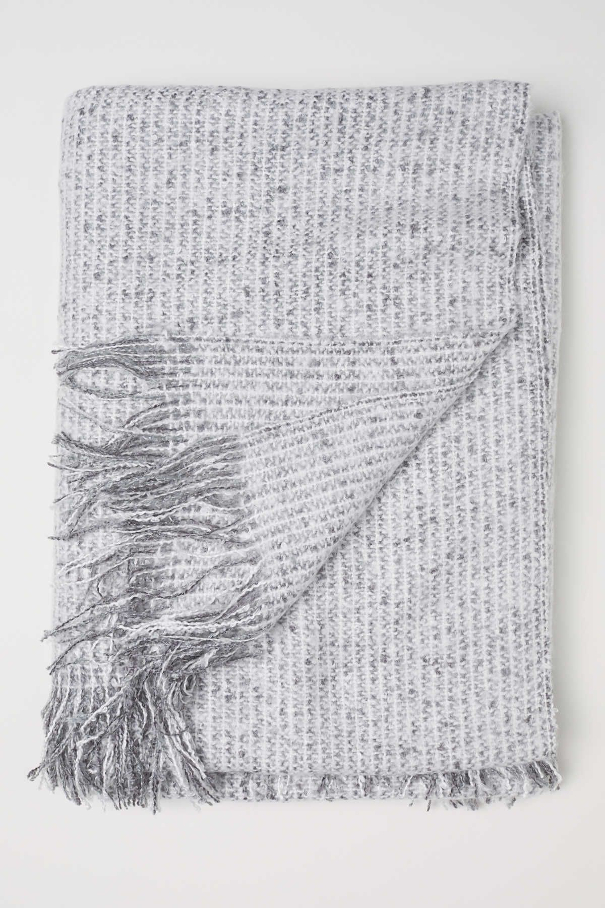 Gray Throw In Soft, Woven Fabric With Fringe At Short