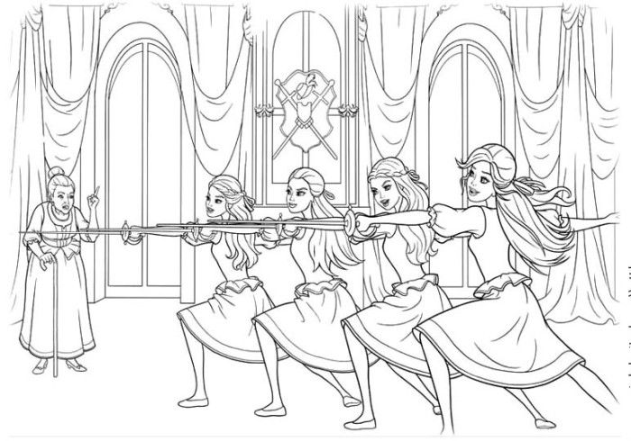 Barbie Musketeers Practice Swords Coloring Pages - Barbie Coloring ...
