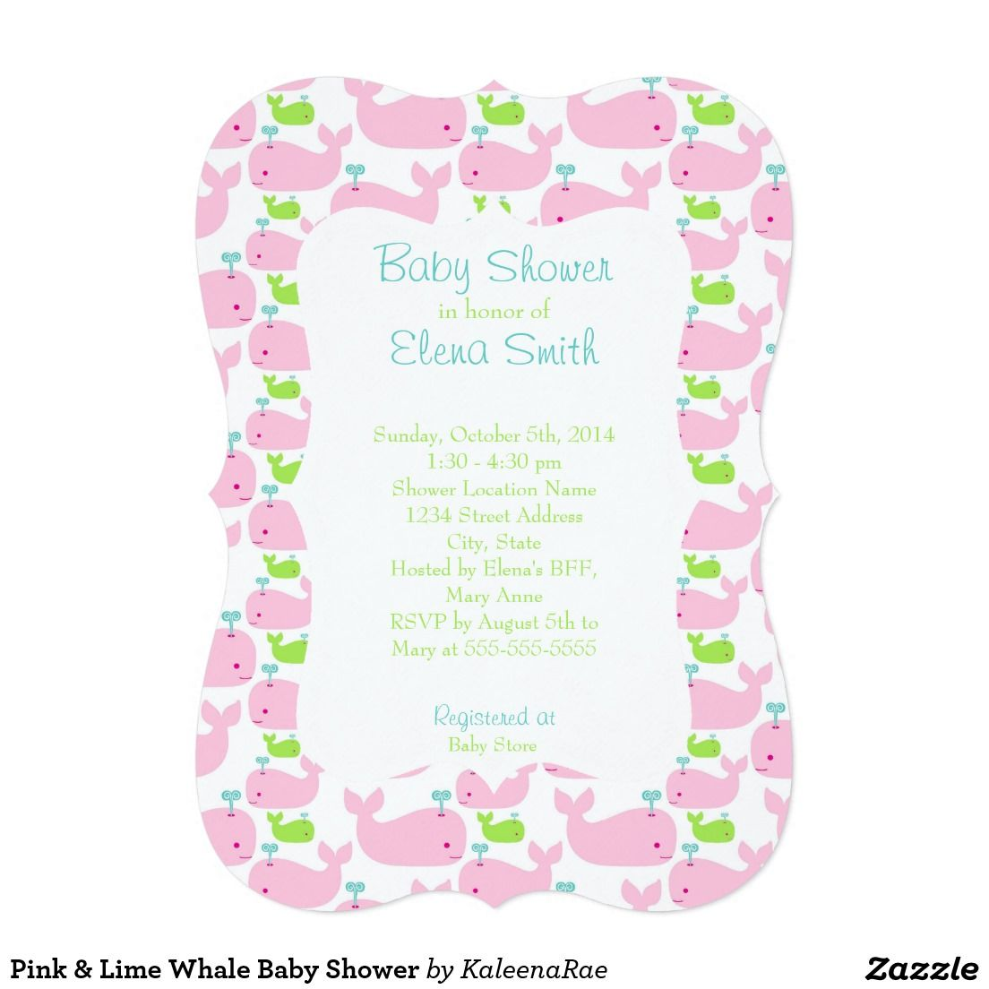 Pink & Lime Whale Baby Shower Invitations | Cute Girly Girl Baby ...