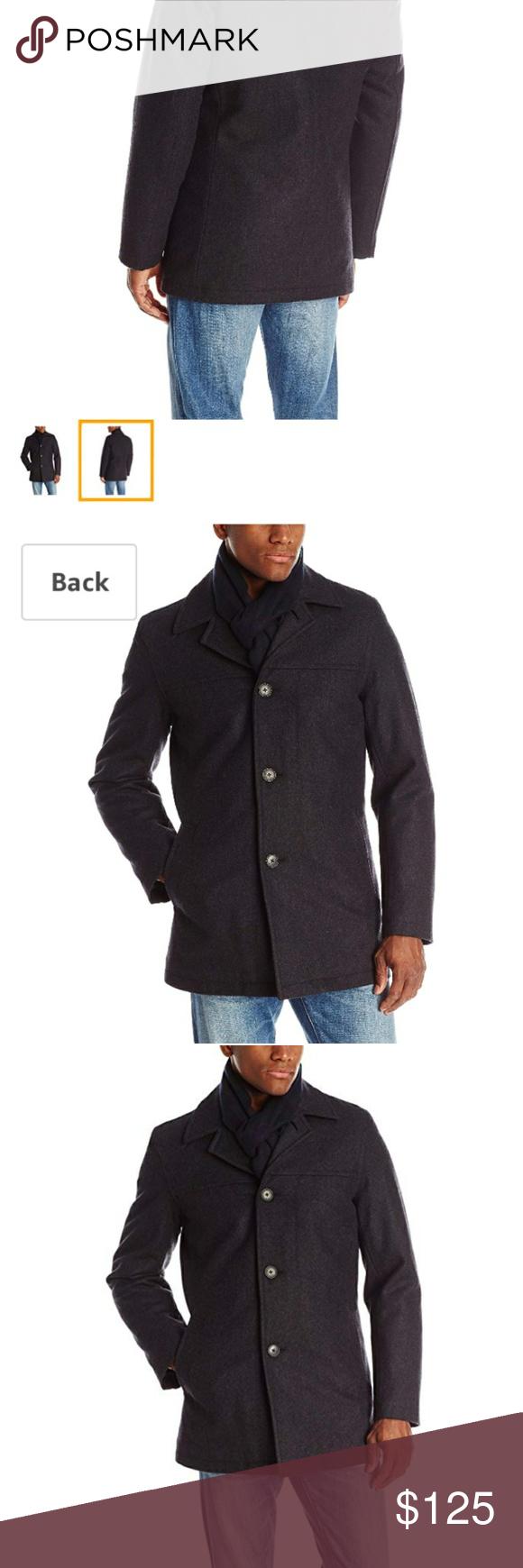 Tommy Hilfiger Men/'s Wool Melton Walking Coat W// Attached Scarf