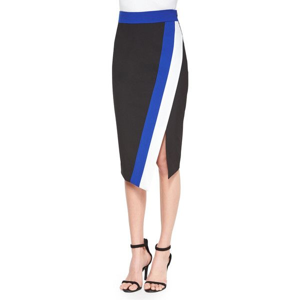 Milly Doubleweave Colorblock Skirt ($295) ❤ liked on Polyvore featuring skirts, multi colors, colorblock skirt, knee length pencil skirt, colorful pencil skirts, colorful skirts and multicolor skirt